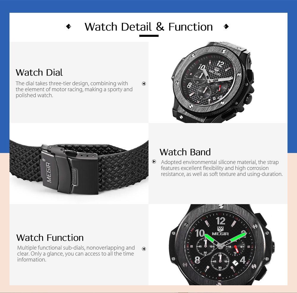 MEGIR 3002G Male Quartz Watch with Date Function Silicone Band Luminous Pointer 30M Water Resistance