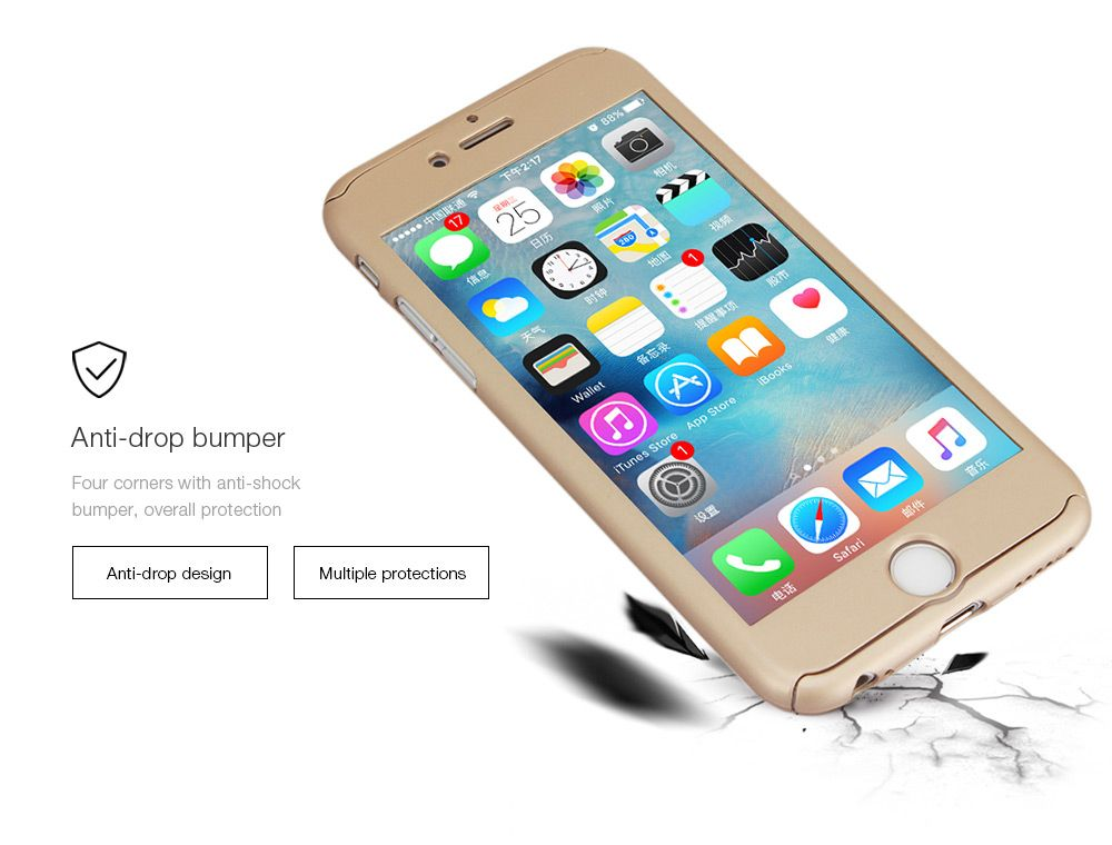 PC Hard Mobile Full Cover Protective Case with Tempered Glass Screen Film for iPhone 6 / 6S