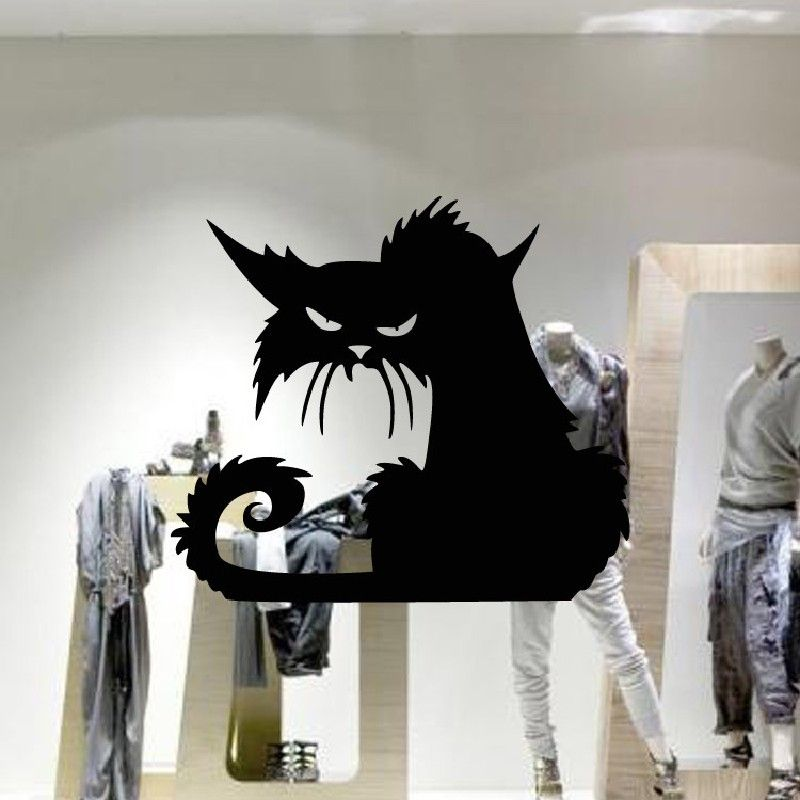 2018 Yeduo 42 X 37cm Halloween Black Cat Window Wall