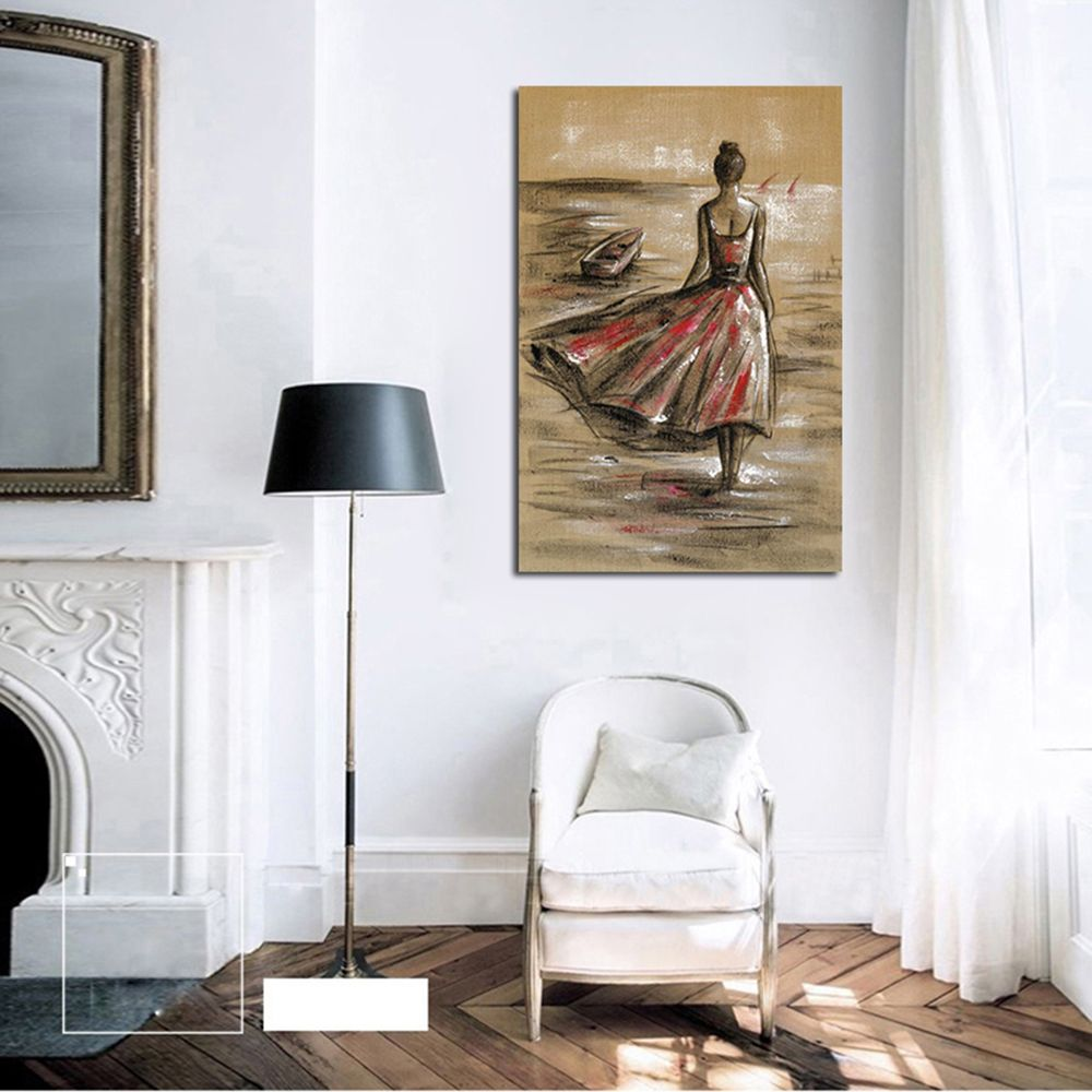 Colormix Hx-art Vessels Without Frame Canvas Red Dress Girl Living ...