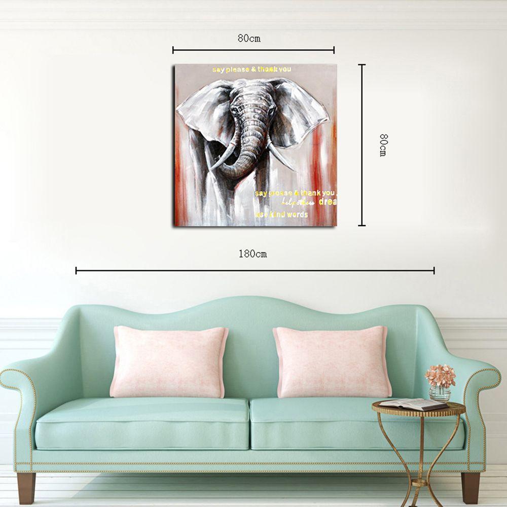 Colormix 80cmx80cm Hx-art No Frame Canvas Animals Elephants Living ...