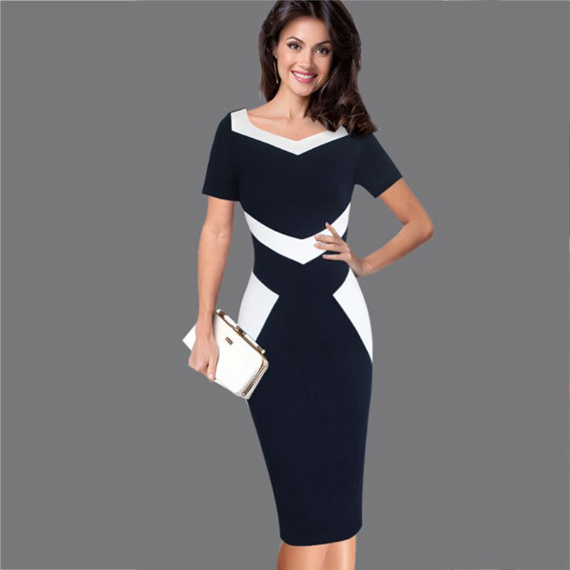 Black White Sching Vintage Dress Women 2017 Casual Female Party Business Office Work Bodycon Pencil