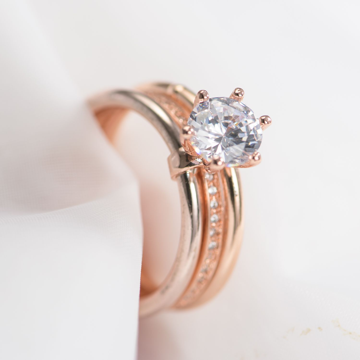 2019 Copper Rehinestone Wedding Engagement Ring