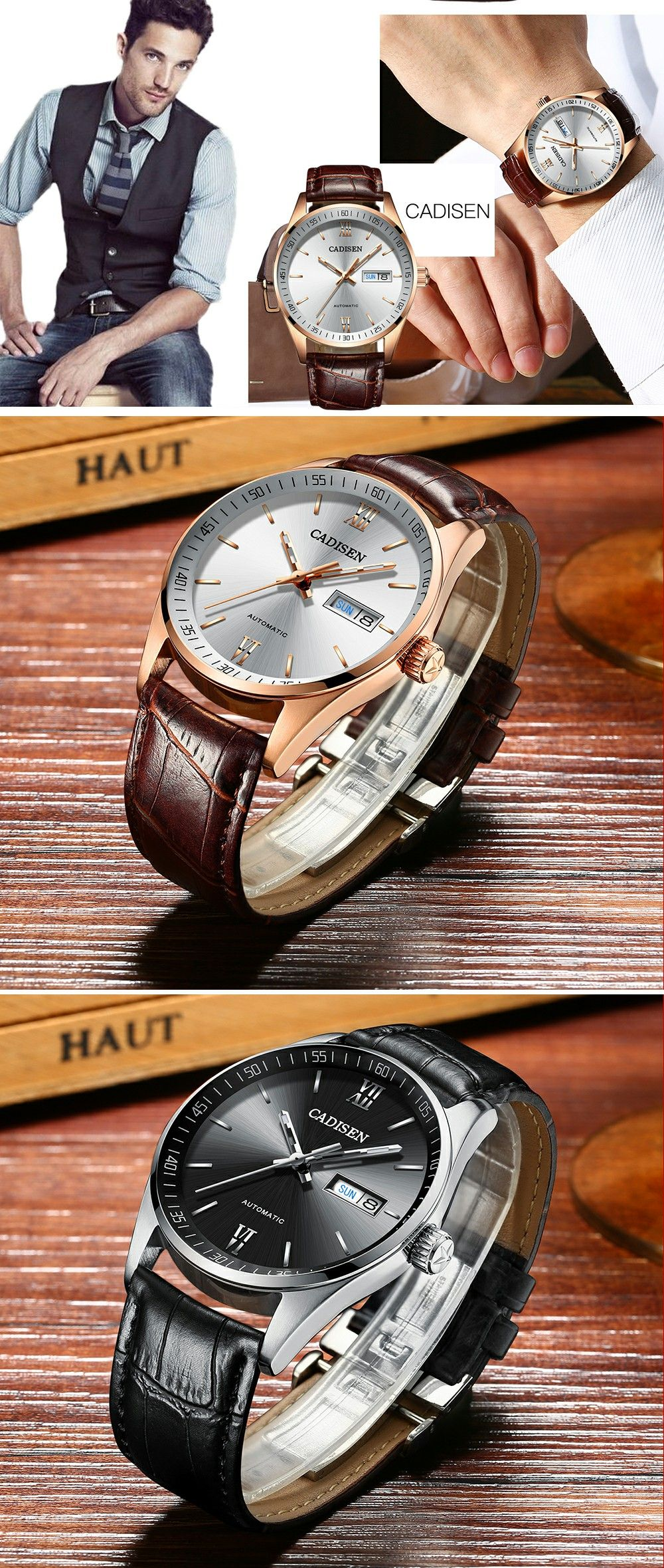leather role dial glass watches watch hot brown s band style sale automatic sapphire business luxury men top cadisen mechanical waterproof white
