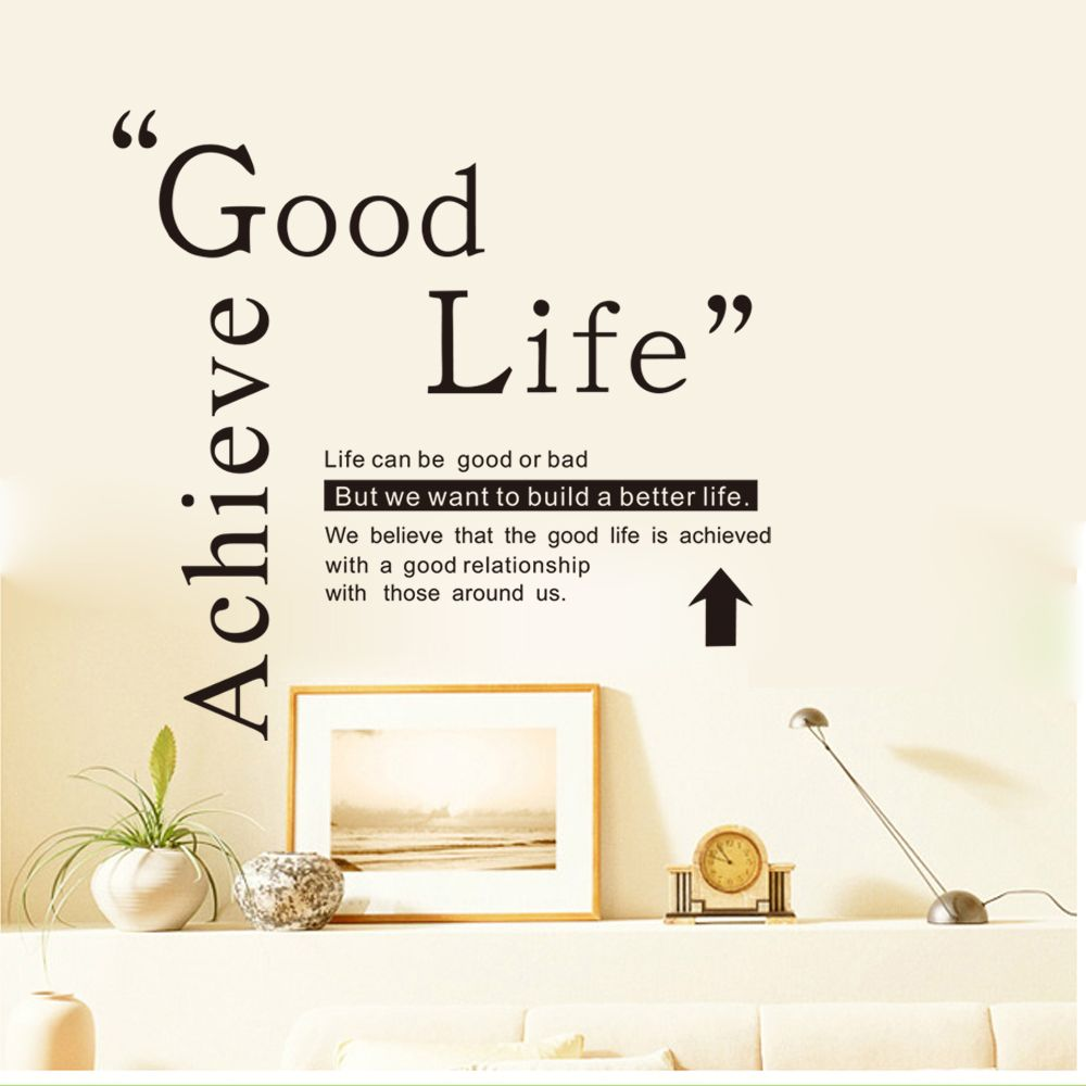 Good Life Quotes Black Dsu Good Life Wall Sticker Quotes English Motto Bedroom