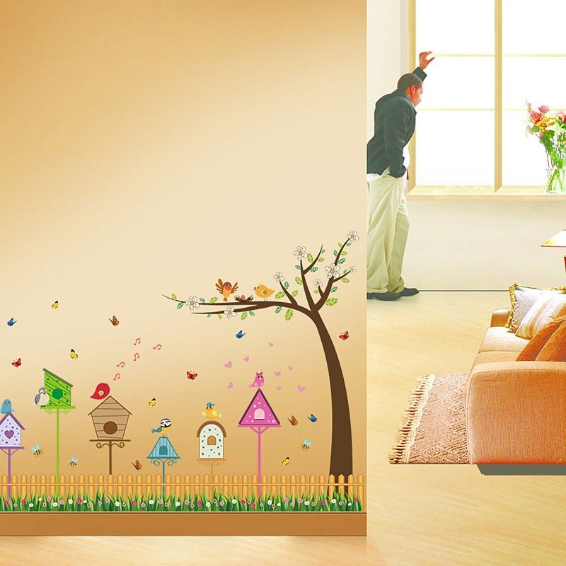 Colorful Dsu Fence Bird And Tree Home Pattern Wall Sticker Kids Room ...