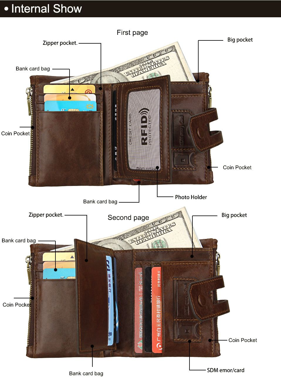 Brown short genuine leather cowhide men wallet business card coin short genuine leather cowhide men wallet business card coin money male purse card holder colourmoves Images