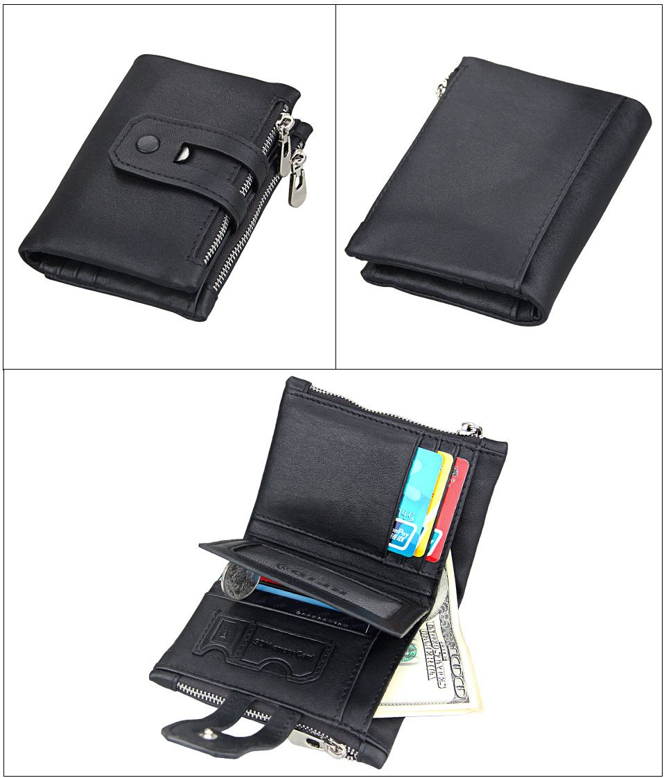 Brown Short Genuine Leather Cowhide Men Wallet Business Card Coin ...