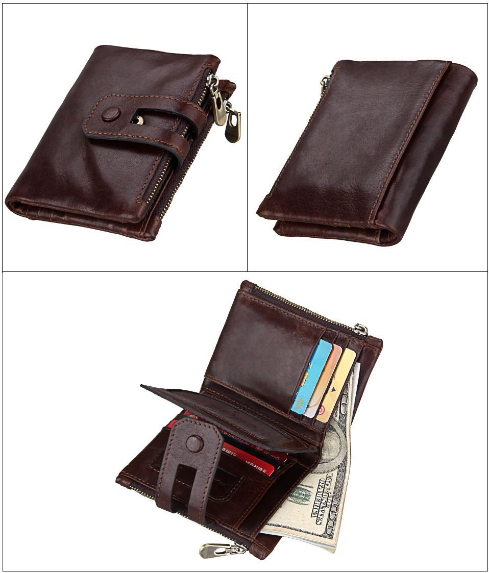 Blue Short Genuine Leather Cowhide Men Wallet Business Card Coin ...