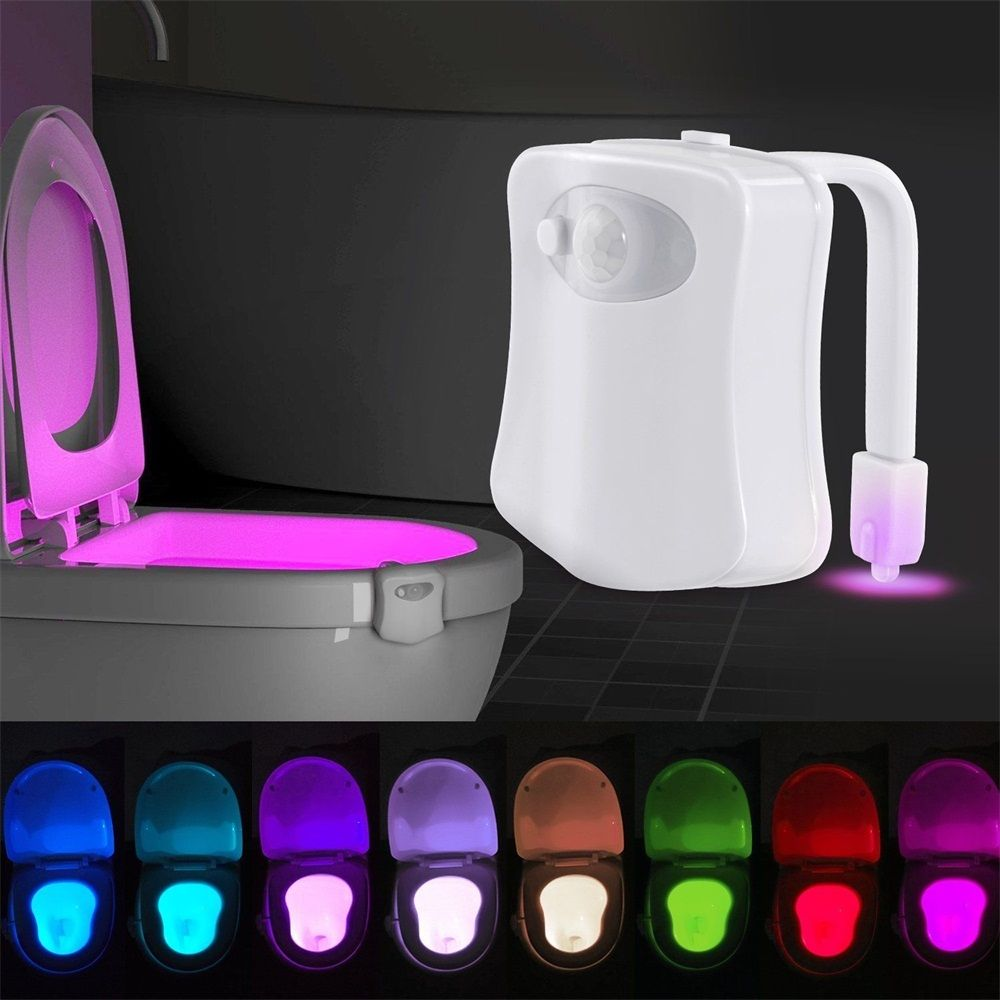 8 Color LED Motion Sensing Automatic Bathroom Toilet Night Light