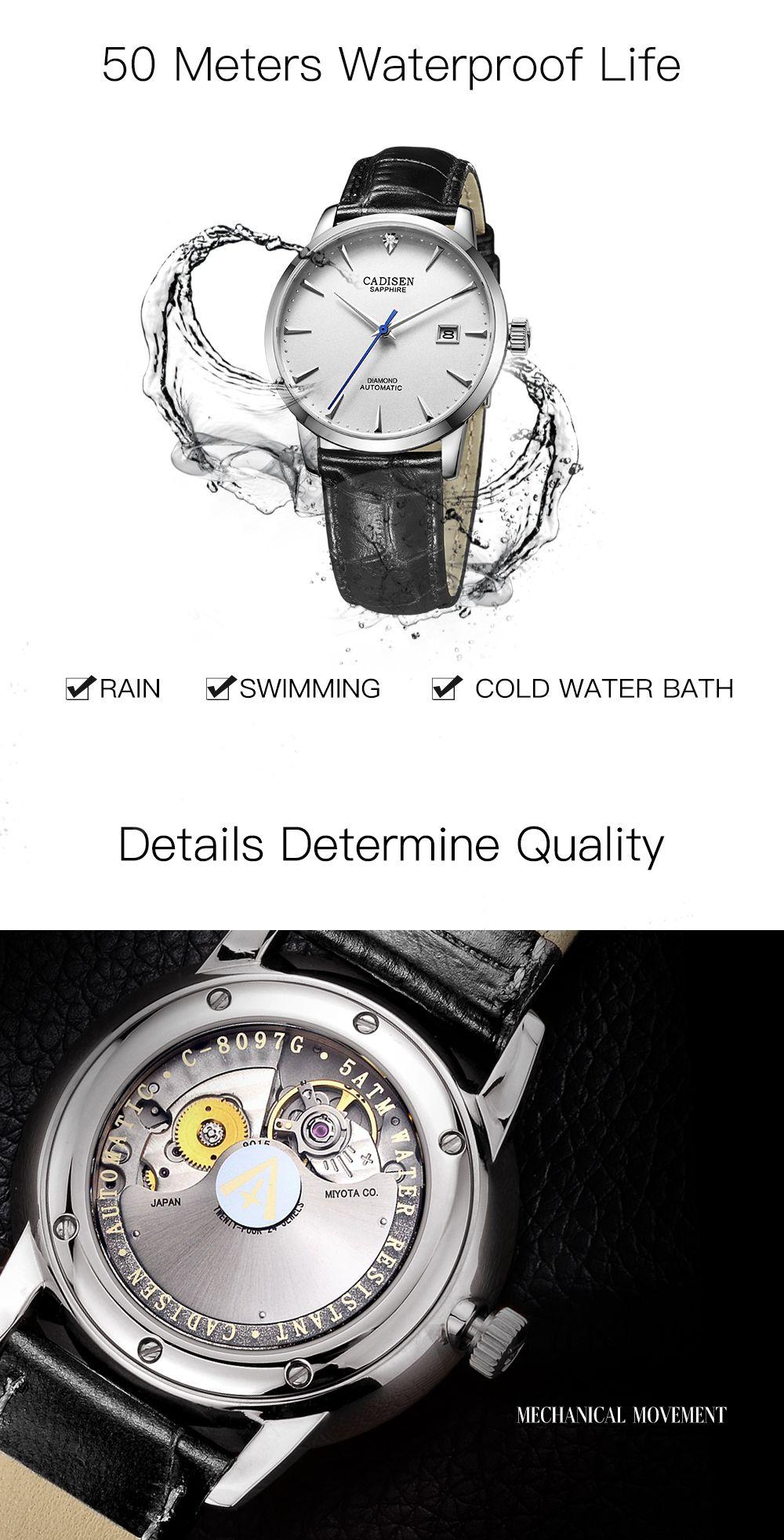 White / Silver Cadisen C8097 Men Stainless Steel Brand Clock ...