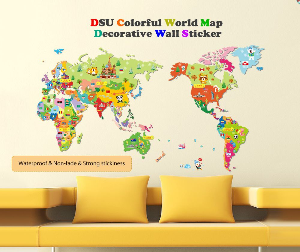 Mixed Color 50 X 70cm Colorful World Map Wall Sticker Decal Vinyl ...