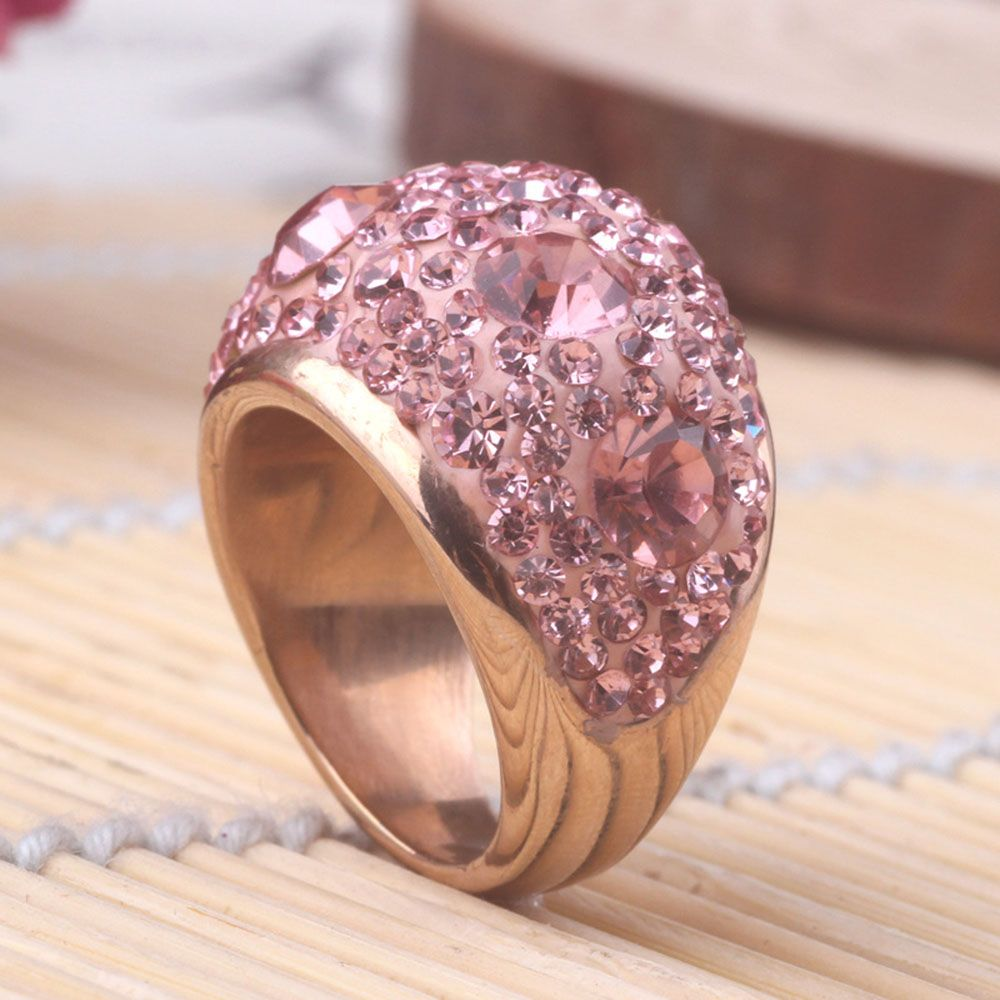 Rose Gold New Diamond Ring Women Rose Gold Stainless Steel Casting ...