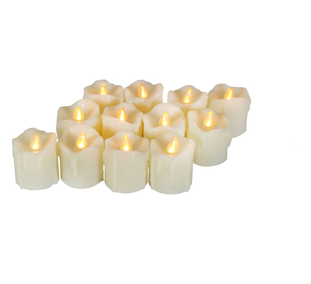 Ivory Yellow 12pcs Realistic Flickering Flameless Candles With Timer Circuits Candle