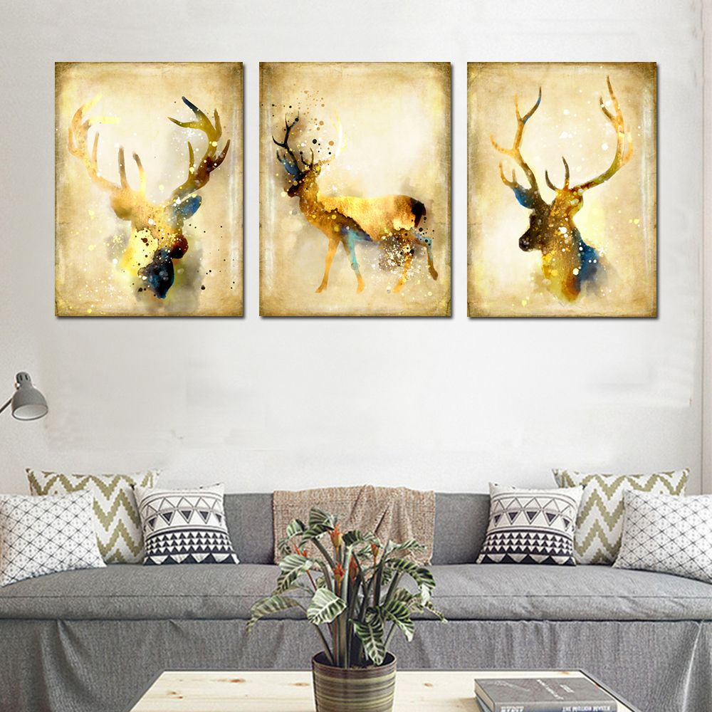 Colorful 40 X 60cm 3pcs Simple Abstract Animal Wall Art Elk Canvas ...