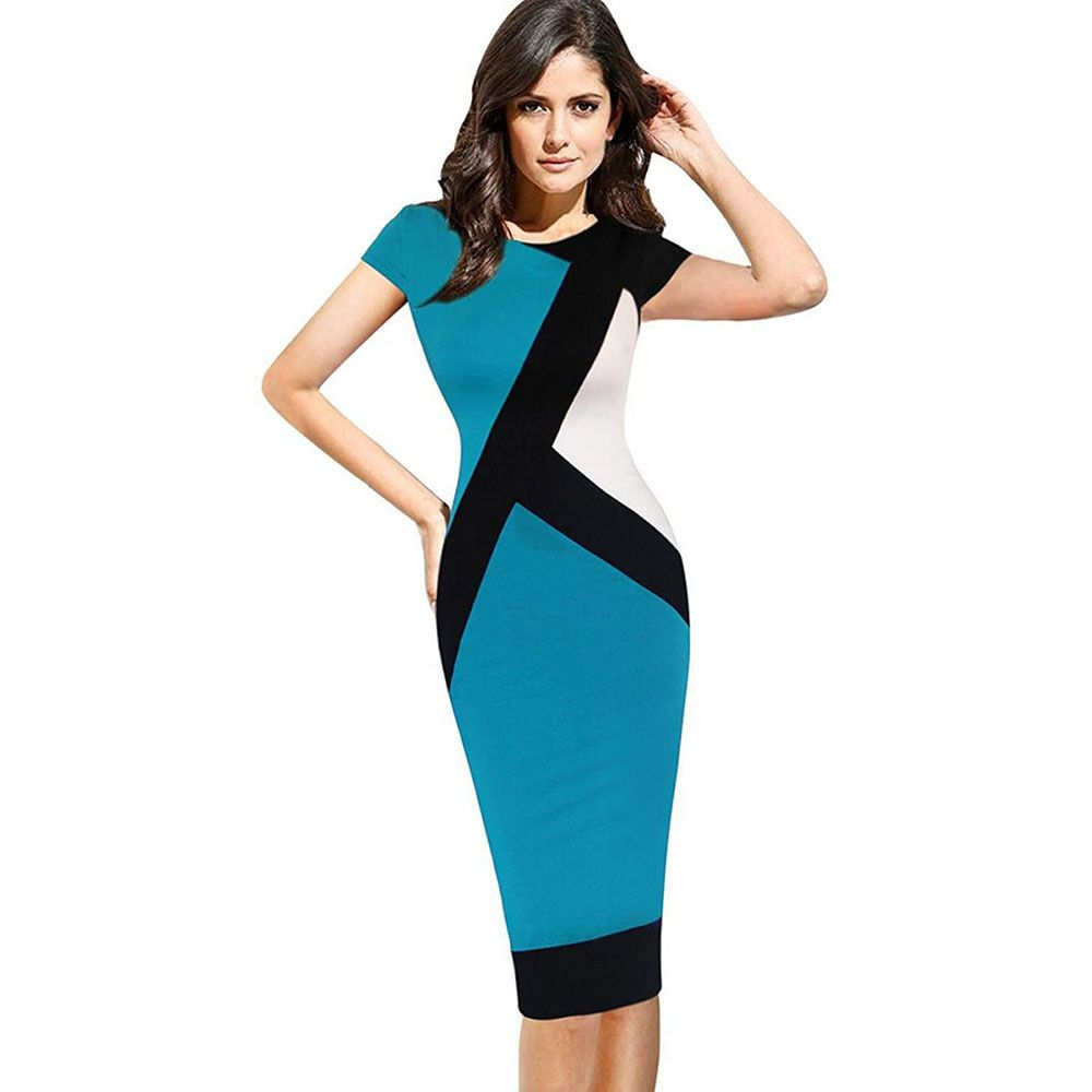 Blue L Women Short Sleeve Elegant Slim Casual Work Party Bodycon ...