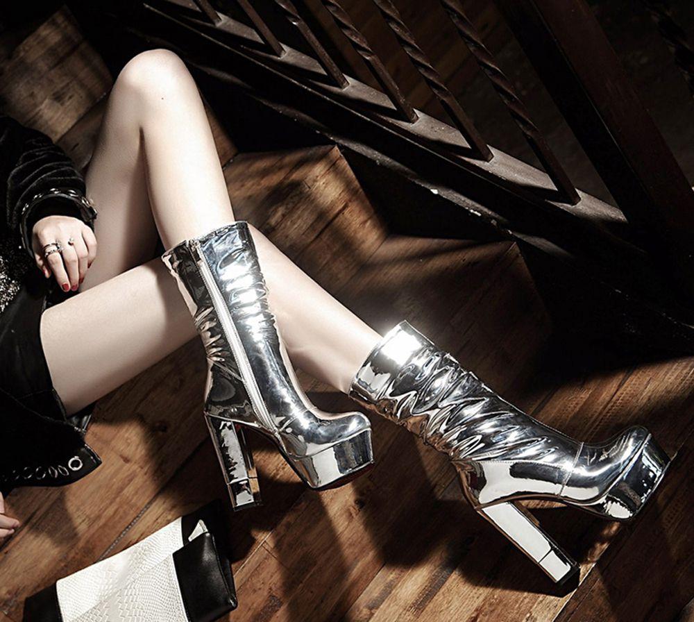 53b91e373ce Evening Show New Round Top Barrel Heel Heel High Heels Short Boots Silver