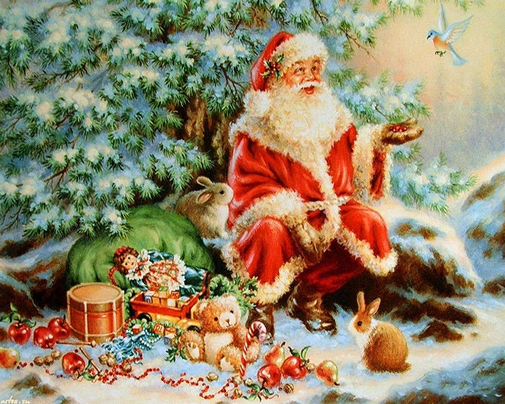 Санта с подарками открытки, картинки