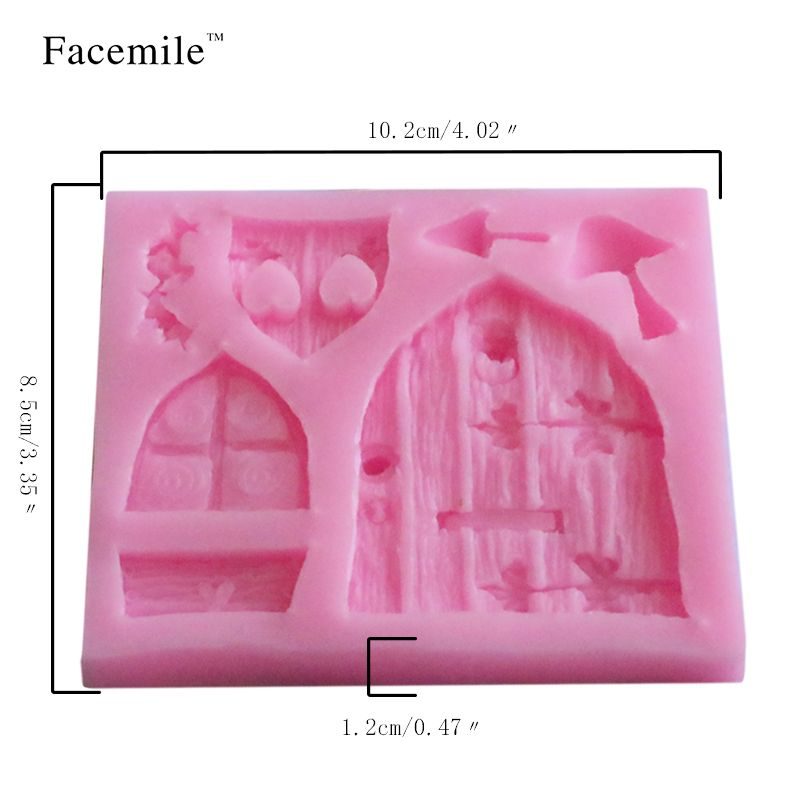 Wood Window Door Love Flowers Mushroom Silicone Mold DIY Cake Decorating  Tools Cooking Baking Mould