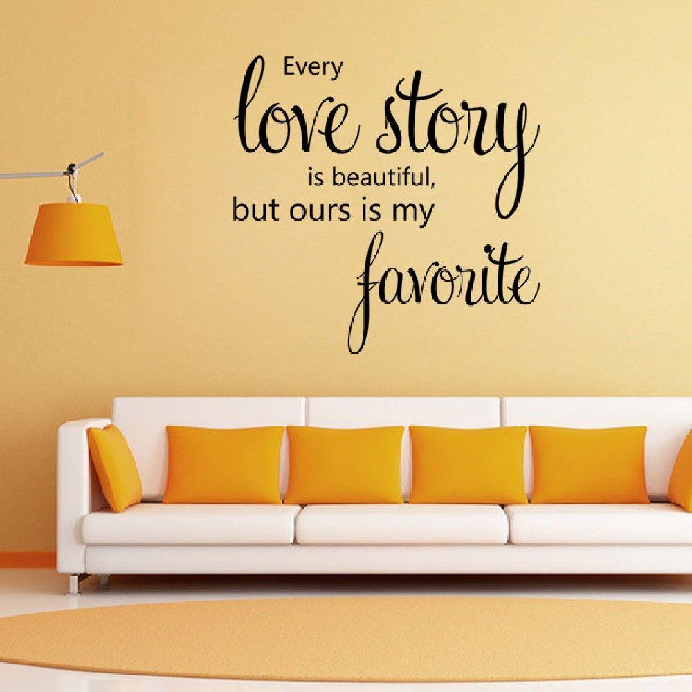 Black 58 X 42 Cm Dsu Home Decoration Love Story Wall Sticker House ...