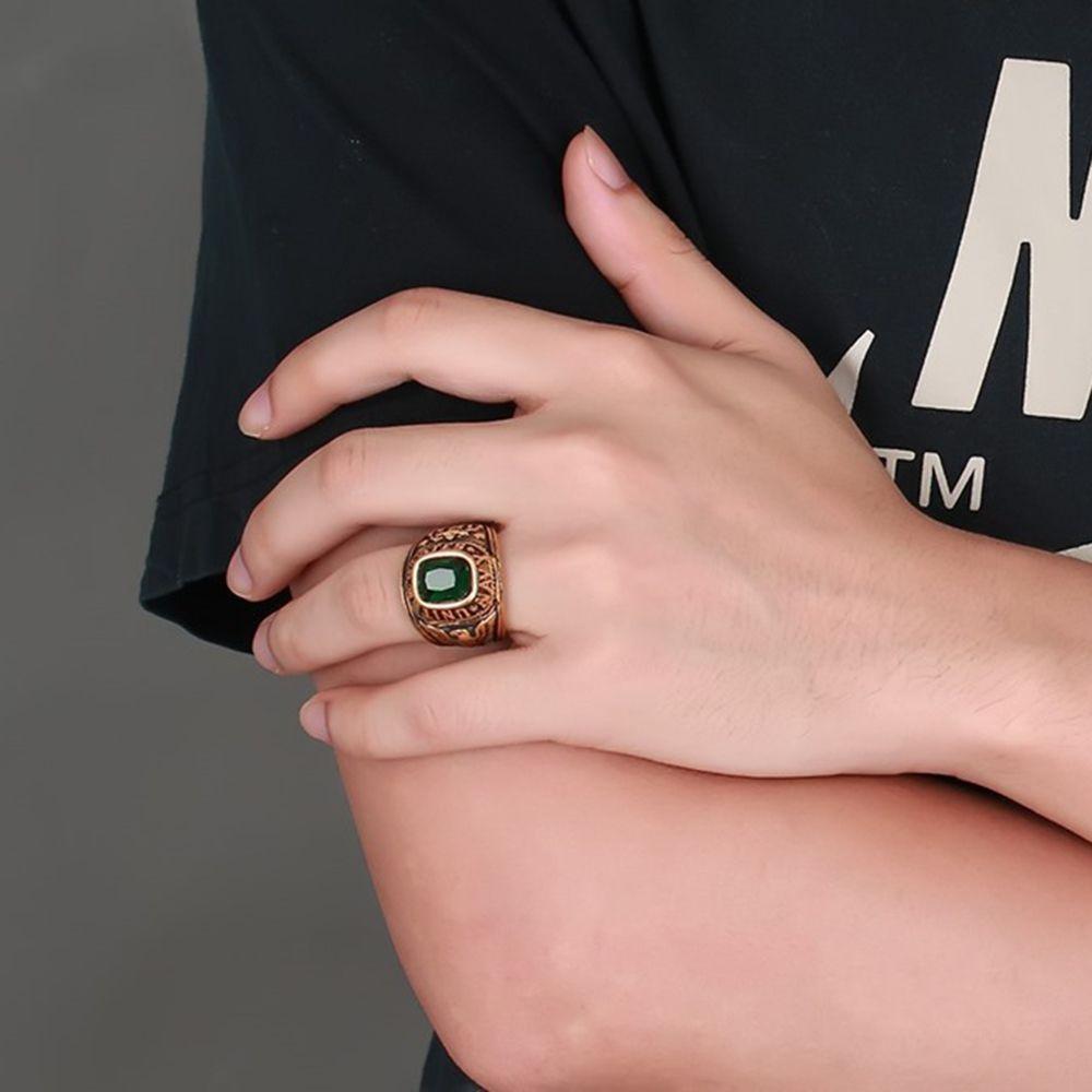 Black 8 Fashion Wild Eagle Pattern Diamond Titanium Steel Men\'s Ring ...
