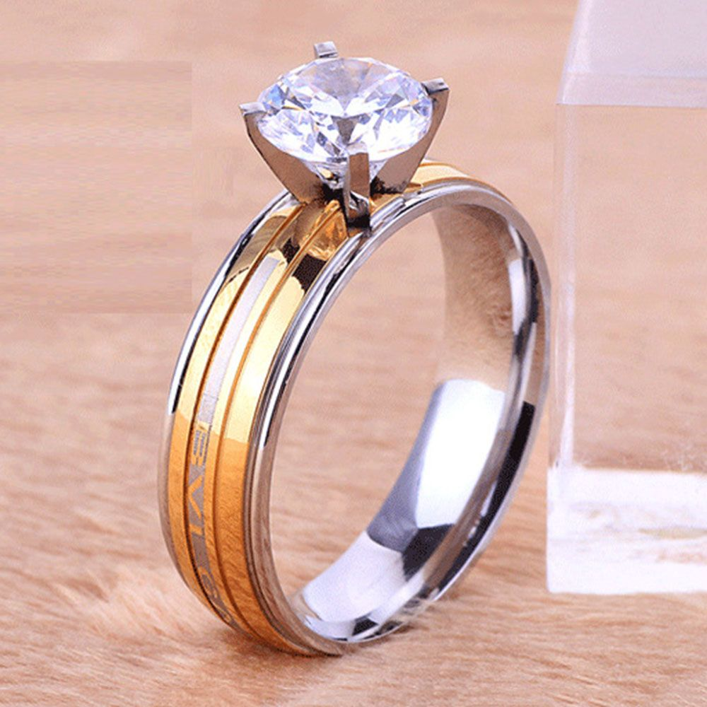 Silver Fashion Ladies Studded Four-prong Jewelry Gold Stainless ...