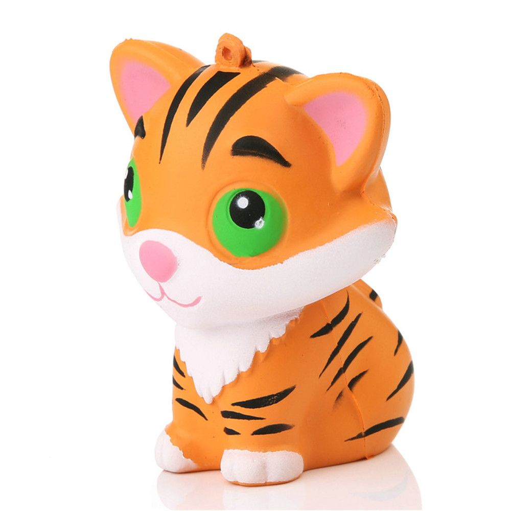 Light Brown Animal Kawaii Squishy Tiger Doll Squeeze Bread Super Slow Rising Phone Straps Soft ...