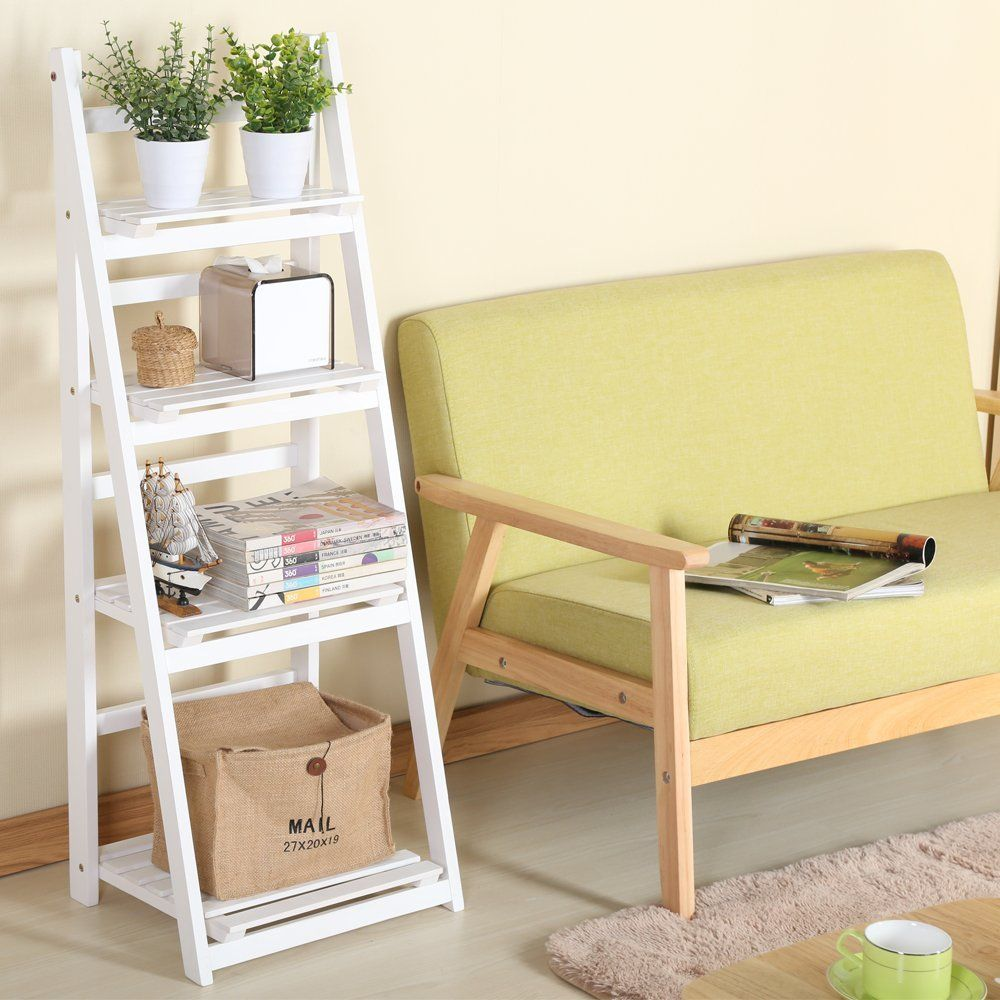 White 1pc Foldable Plant Stand Flower Ladder Rack, Solid Wood (4 ...
