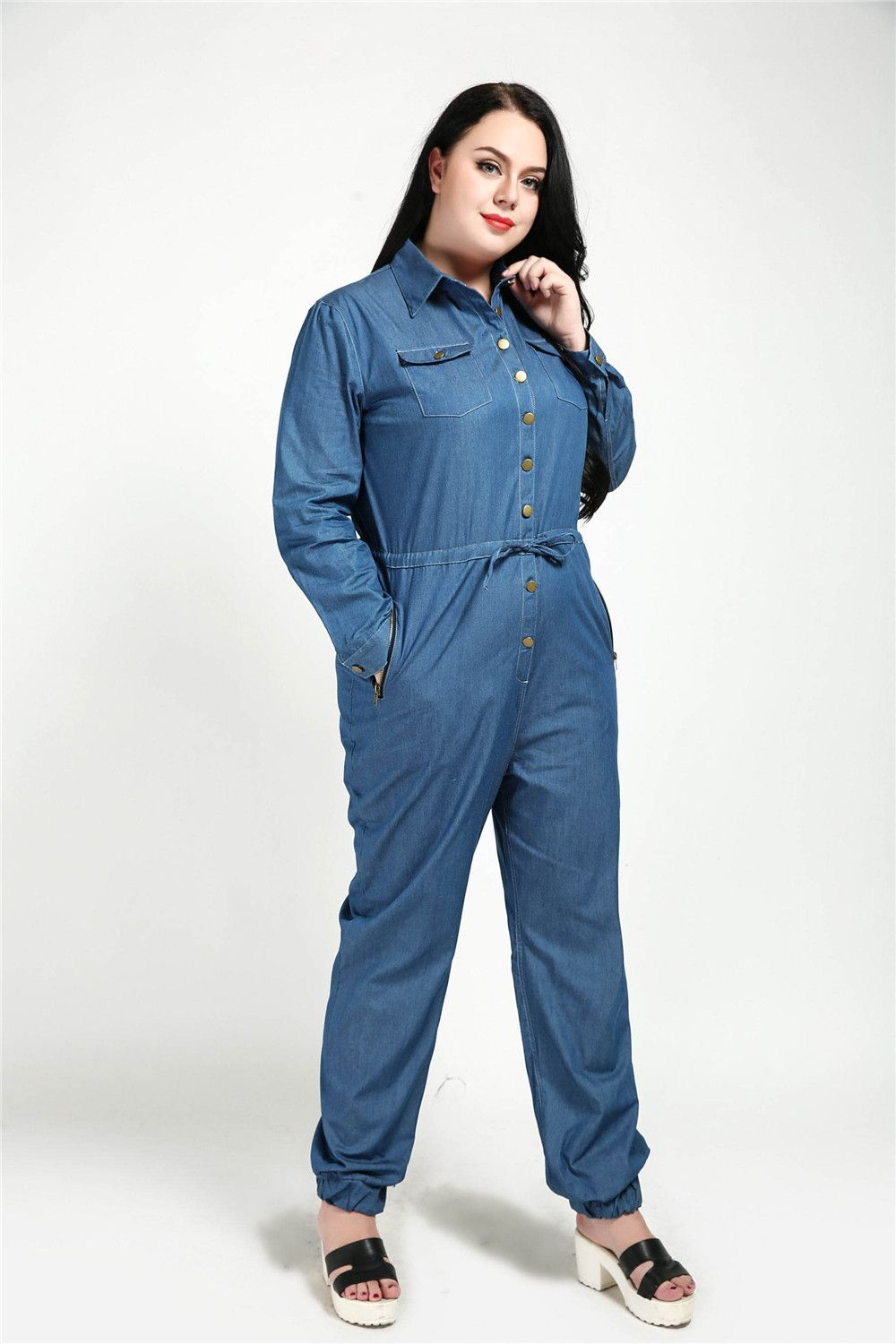 57954fb983da Cute Ann Women s Sexy Long Sleeve Plus Size Casual Denim Jumpsuits