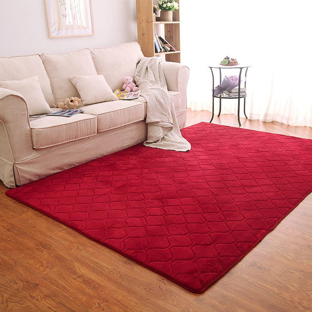 Wine Red 140x200cm Floor Mat Thicken Coral Fleece Comfy