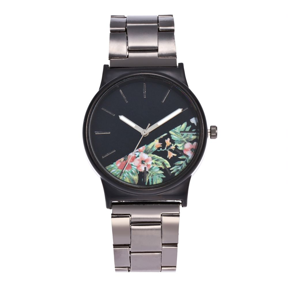 Popular Ladies Watches Minimalistic Half Black Fashion Silver Steel Strap Personality Watch Gift Box