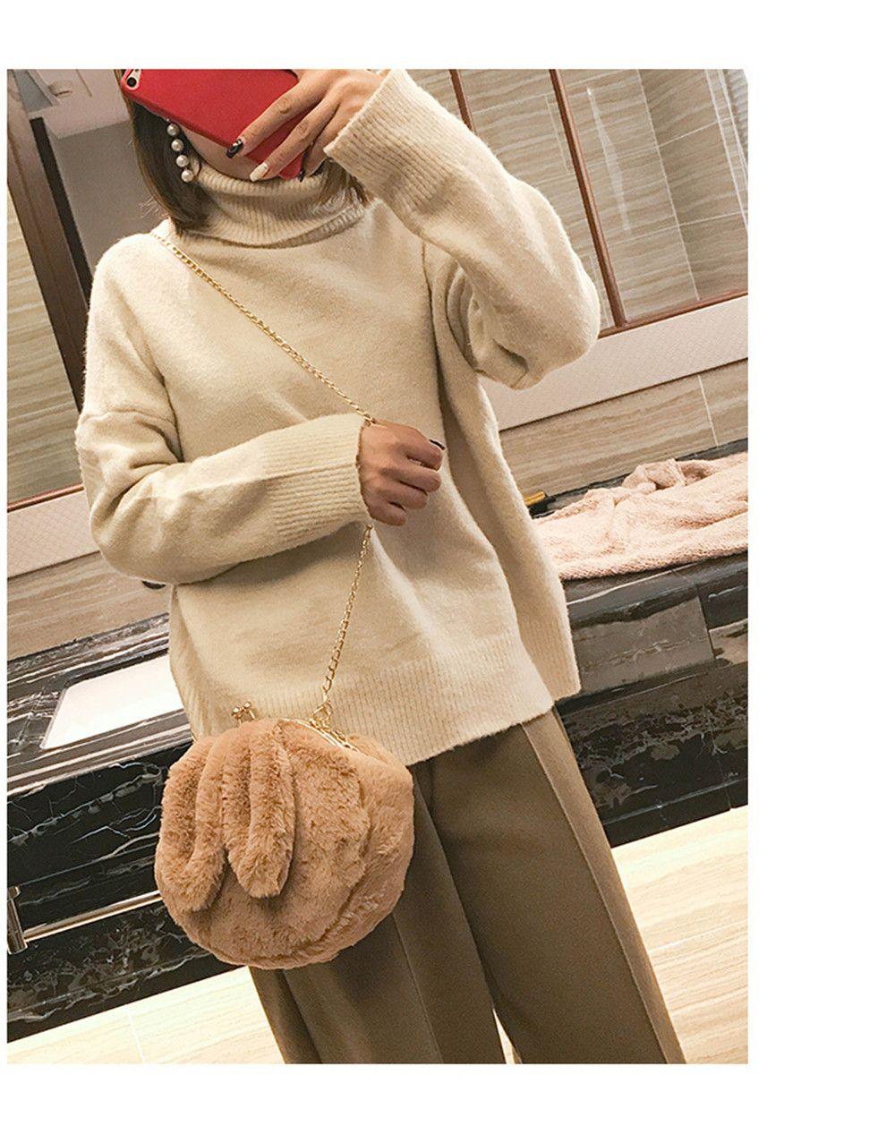 New Ear Bag Cute Soft Cute Messenger Handbag Fashion Folder Chain Fur Bag