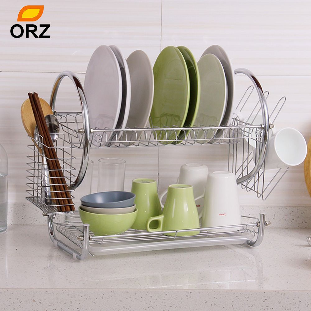 ORZ Stainless Steel Dish Rack 2-Tier Dish Drainer Drying Shelf Kitchen Cup Plate Storage & Silver 53 Cm X 26 Cm X 39 Cm Orz Stainless Steel Dish Rack 2-tier ...