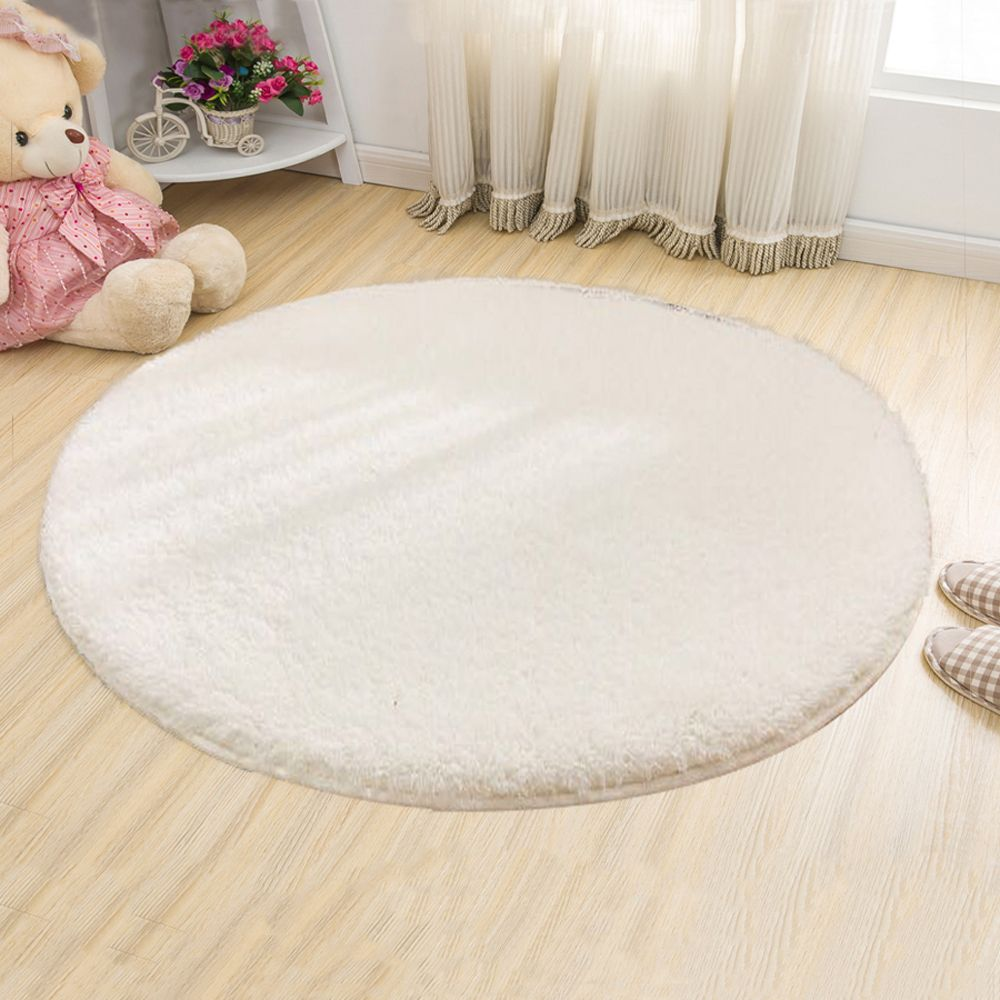 White 100x100cm Floor Mat Breif Style Solid Yoga Thick