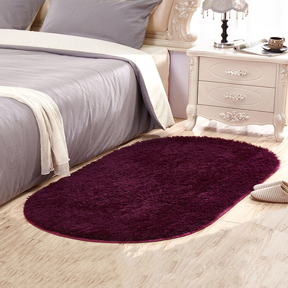 Wine Red 60x90cm Door Mat Modern Solid Oval Shaped