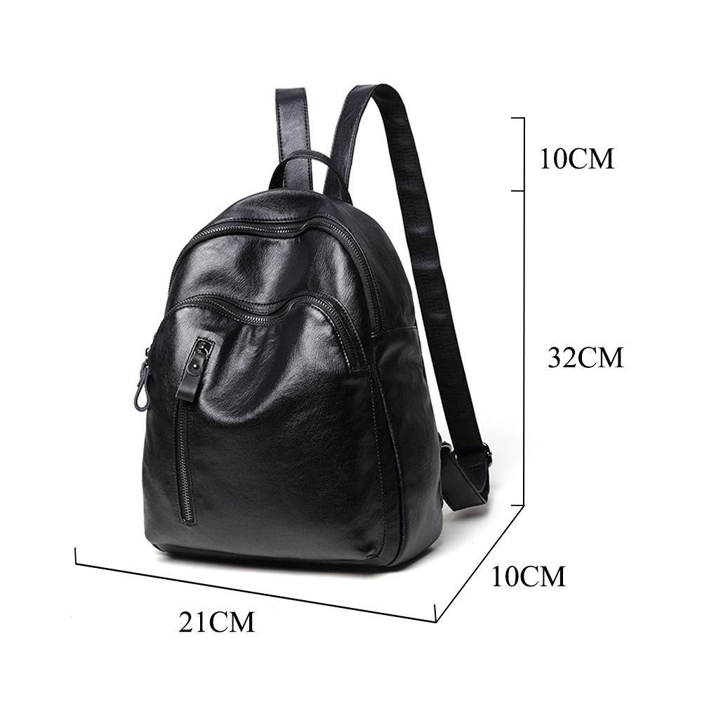 c4756a2b17 Fashion Design College Students PU leather Black Backpack Mini Waterproof  Soft Travel Bag