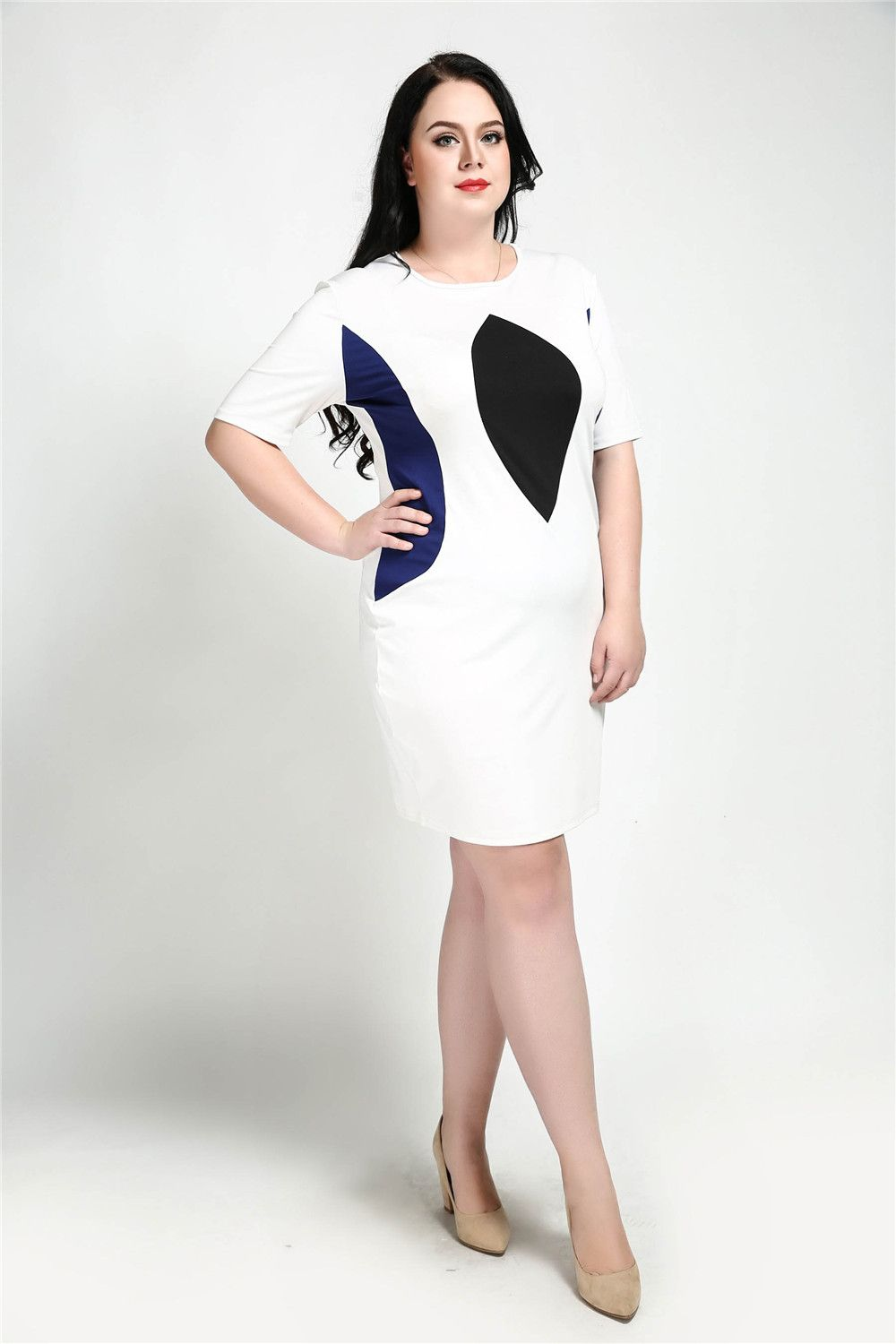 2018 Cute Ann Women s Sexy White And Black Blocked Plus Size Vintage ... 2a998e900af9