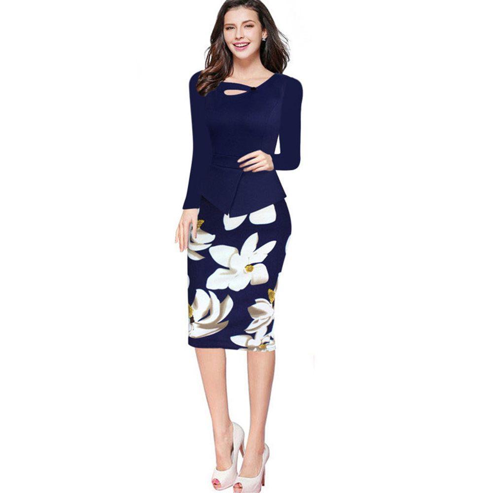 Hot Sale Autumn Elegant Women Long Sleeve Floral Print Patchwork Working  Pencil Office Bodycon Plus Size Dress