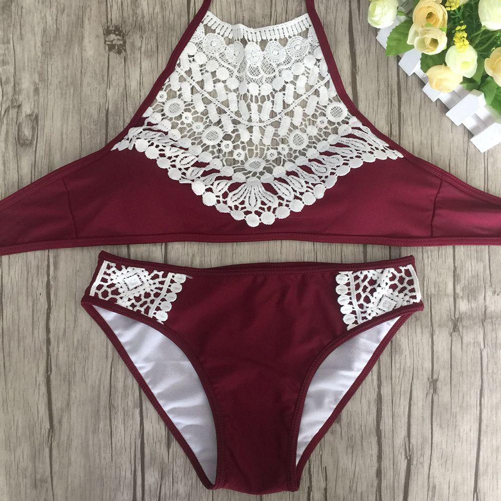 0387d6e2a5 2018 Summer Women Sexy Bikini Set Lace Swimsuit Beachwear Bathing Suit