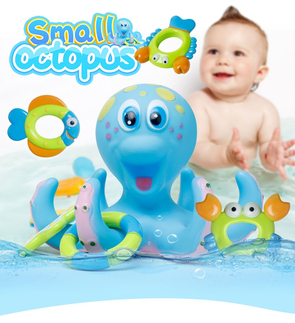 Blue Children Toys Small Fancy Baby Bath Water Toy Octopus Loops ...