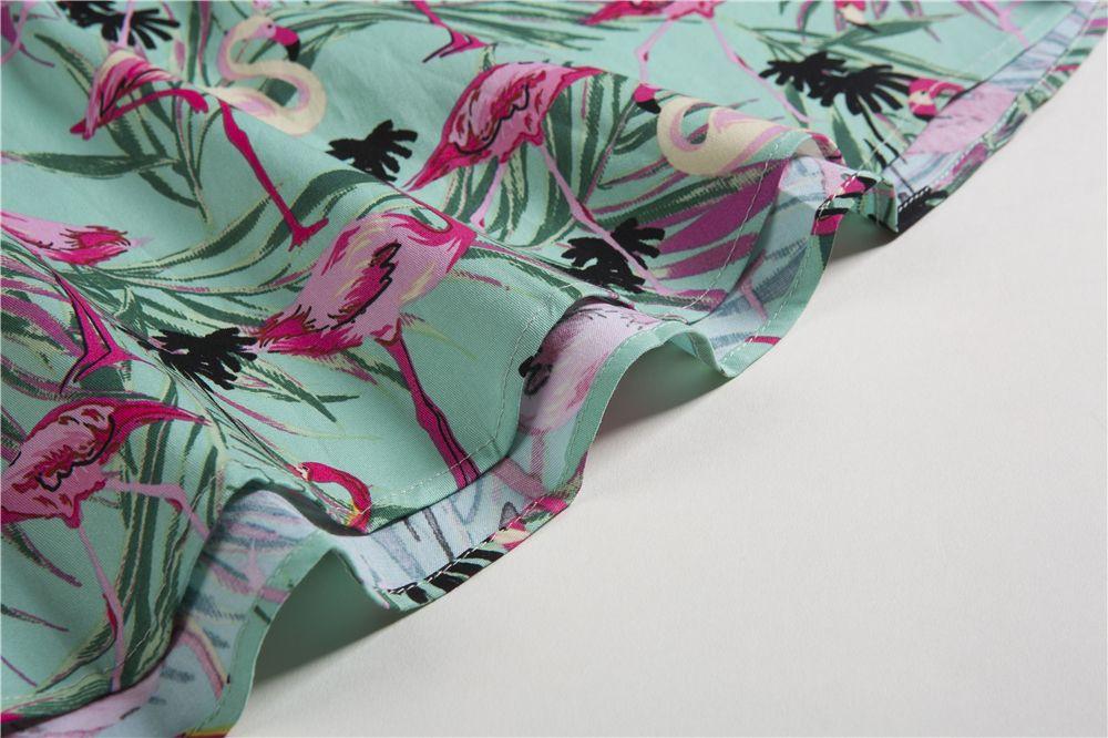 d4b2923ec7cc 2018 Cotton Sleeveless Summer Dress Women Flamingo Print Audrey Hepburn  Dress Belt Dresses