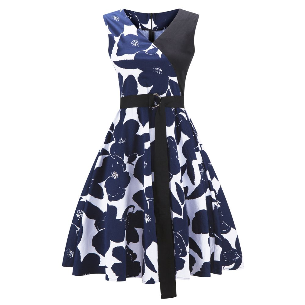 57d3eb64009b 2018 2018 Cotton Sleeveless Summer Dress Women Flamingo Print Audrey Hepburn  Vintage Dress Belt Dresses In Royal 2xl