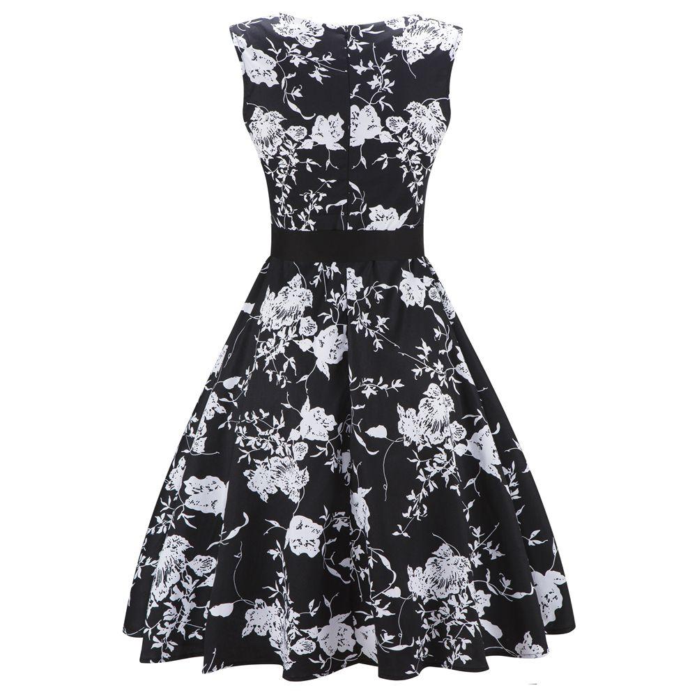 ce95c09d09a7 2018 Cotton Sleeveless Summer Dress Women Flamingo Print Audrey Hepburn  Vintage Dress Belt Dresses