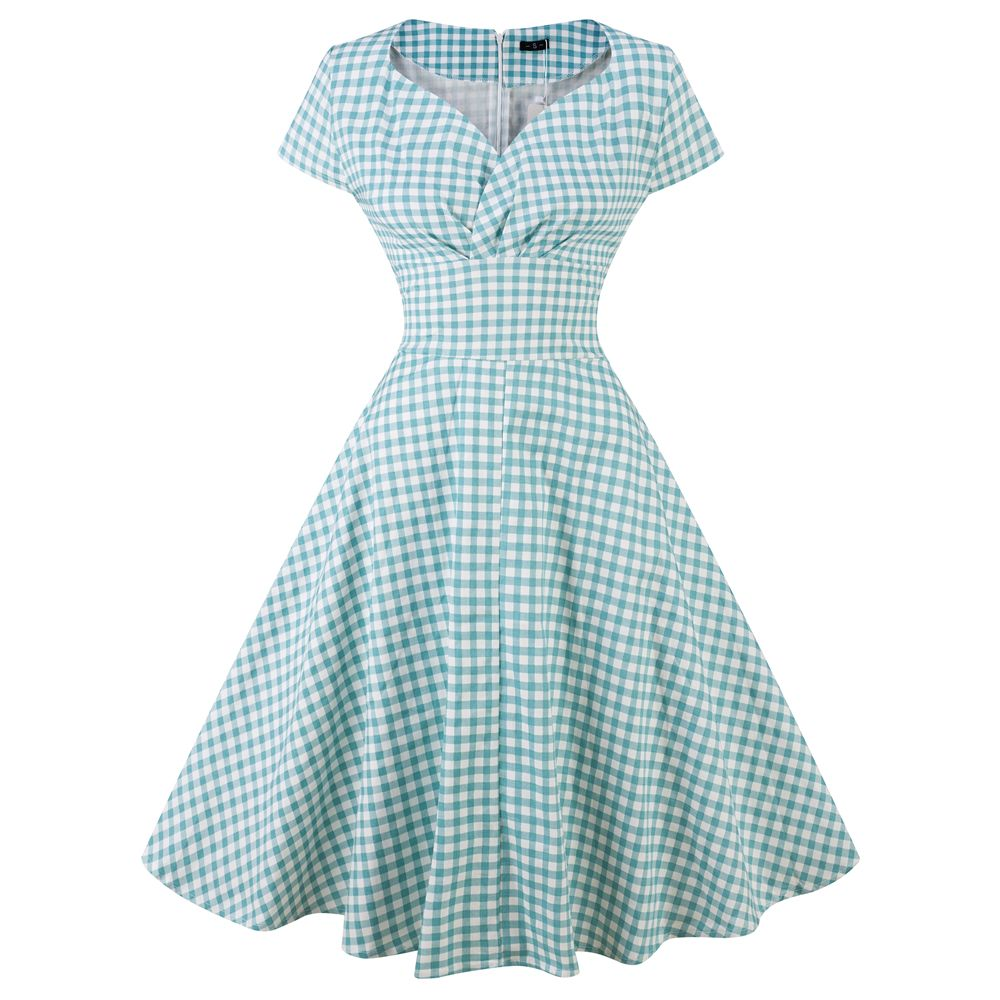 Light Green M 50s Vintage Dress Polka Dots Casual Party Retro ...