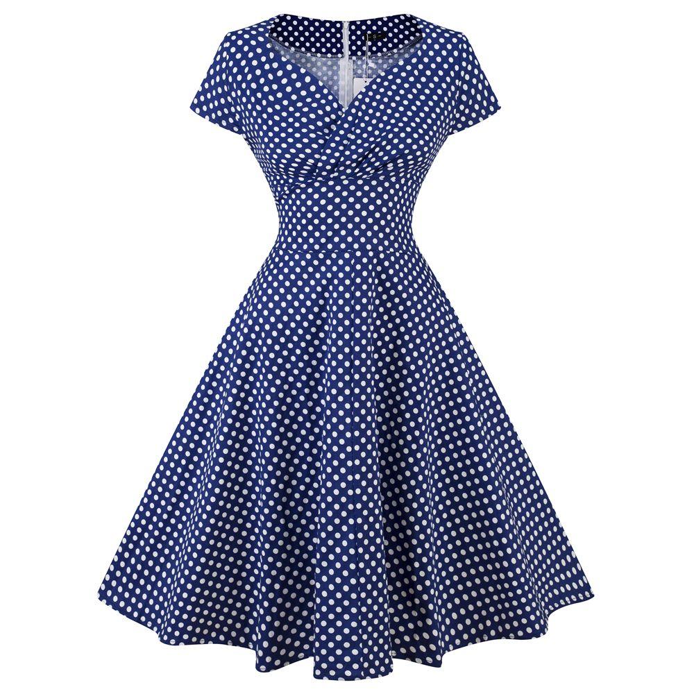 2018 50s vintage dress polka dots casual party retro rockabilly