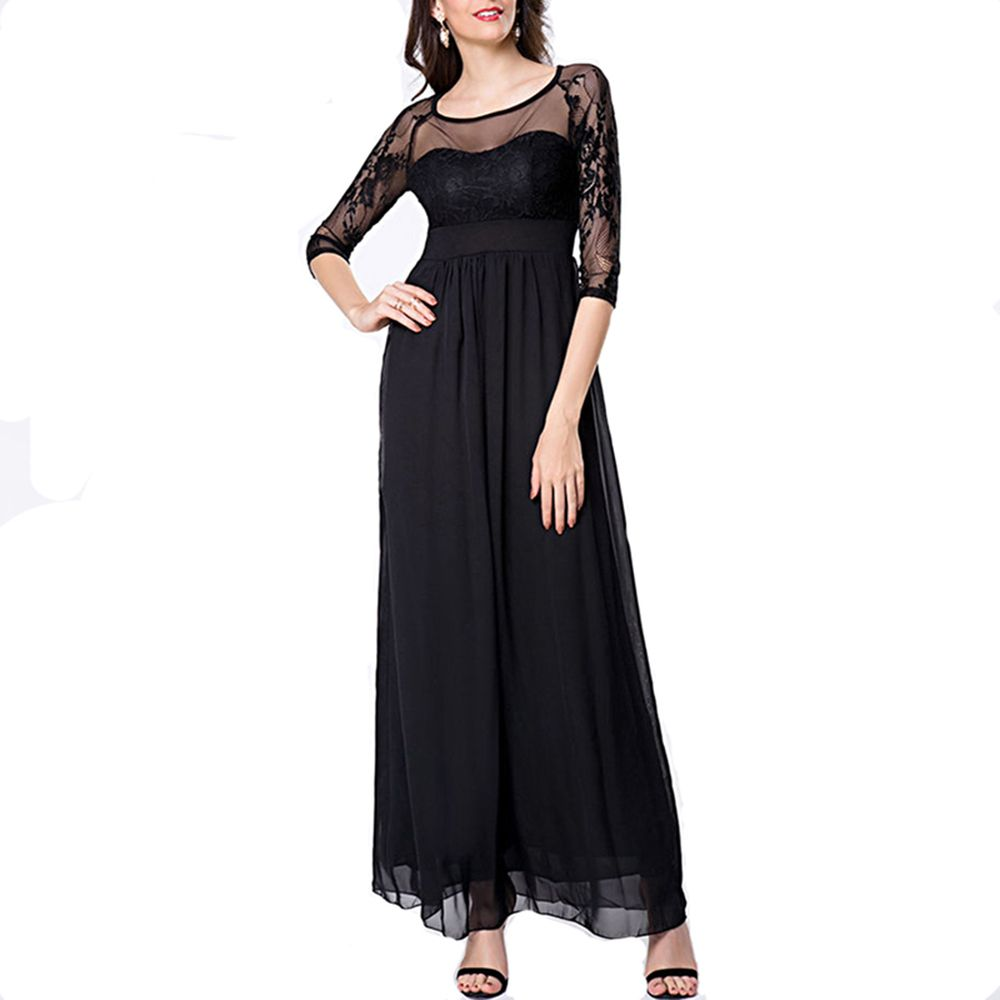 d6978595436 Sexy Black Summer Elegant O Neck Lace Sleeve Fitted Fashion Slimming  Chiffon Long Split Maxi Dress