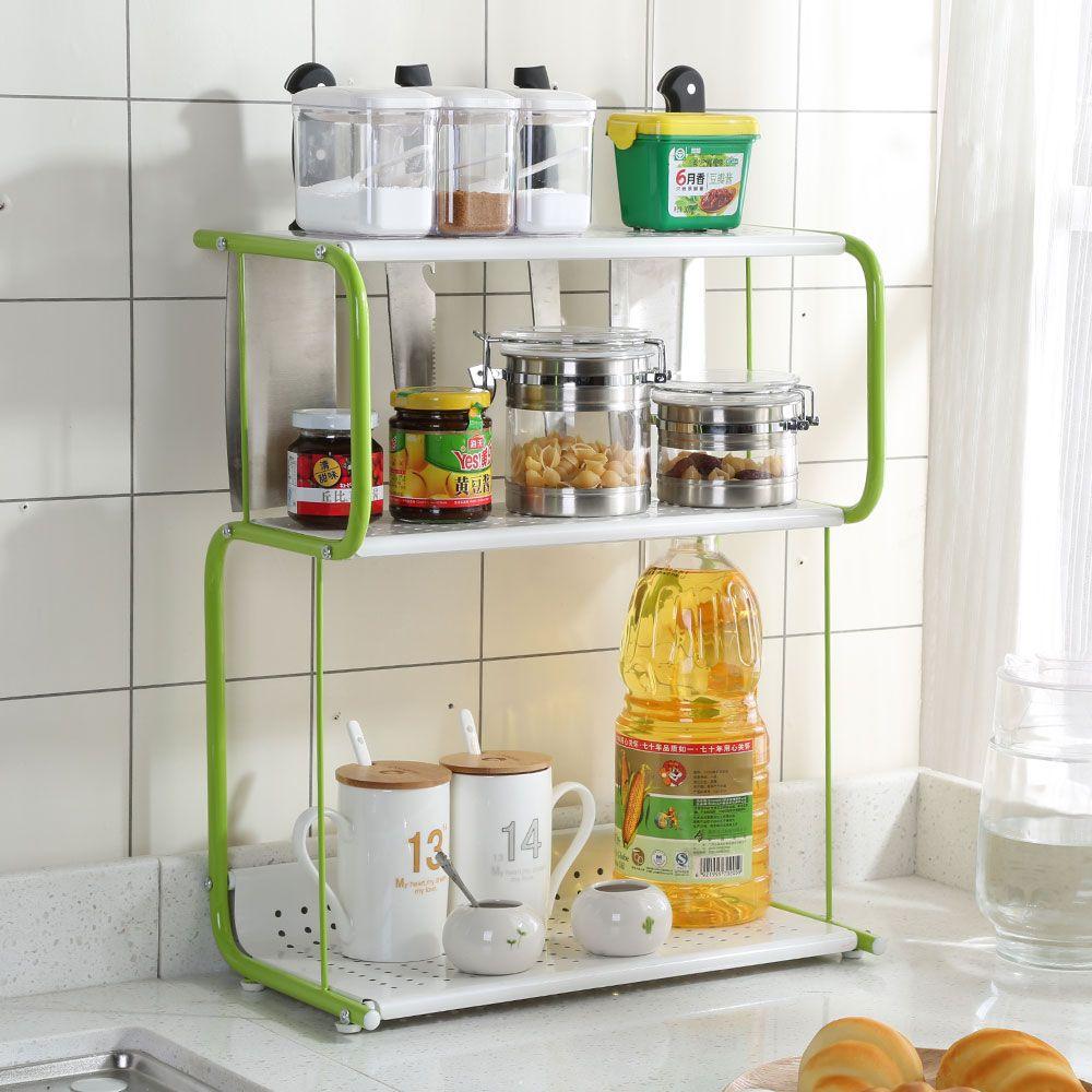 3 Tier Rack Kitchen Bathroom Countertop Storage Organizer E Jars Bottle Standing Shelf