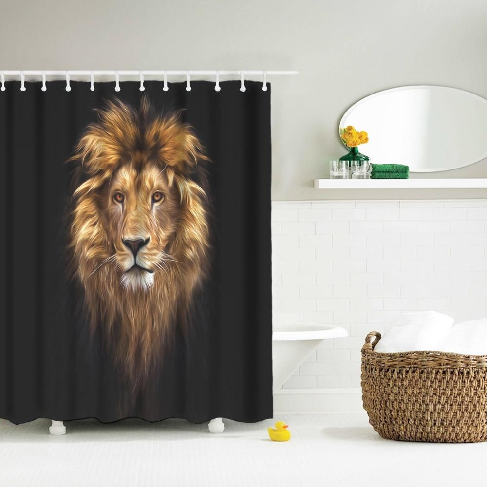 [47% OFF] Golden Lion King Polyester Shower Curtain