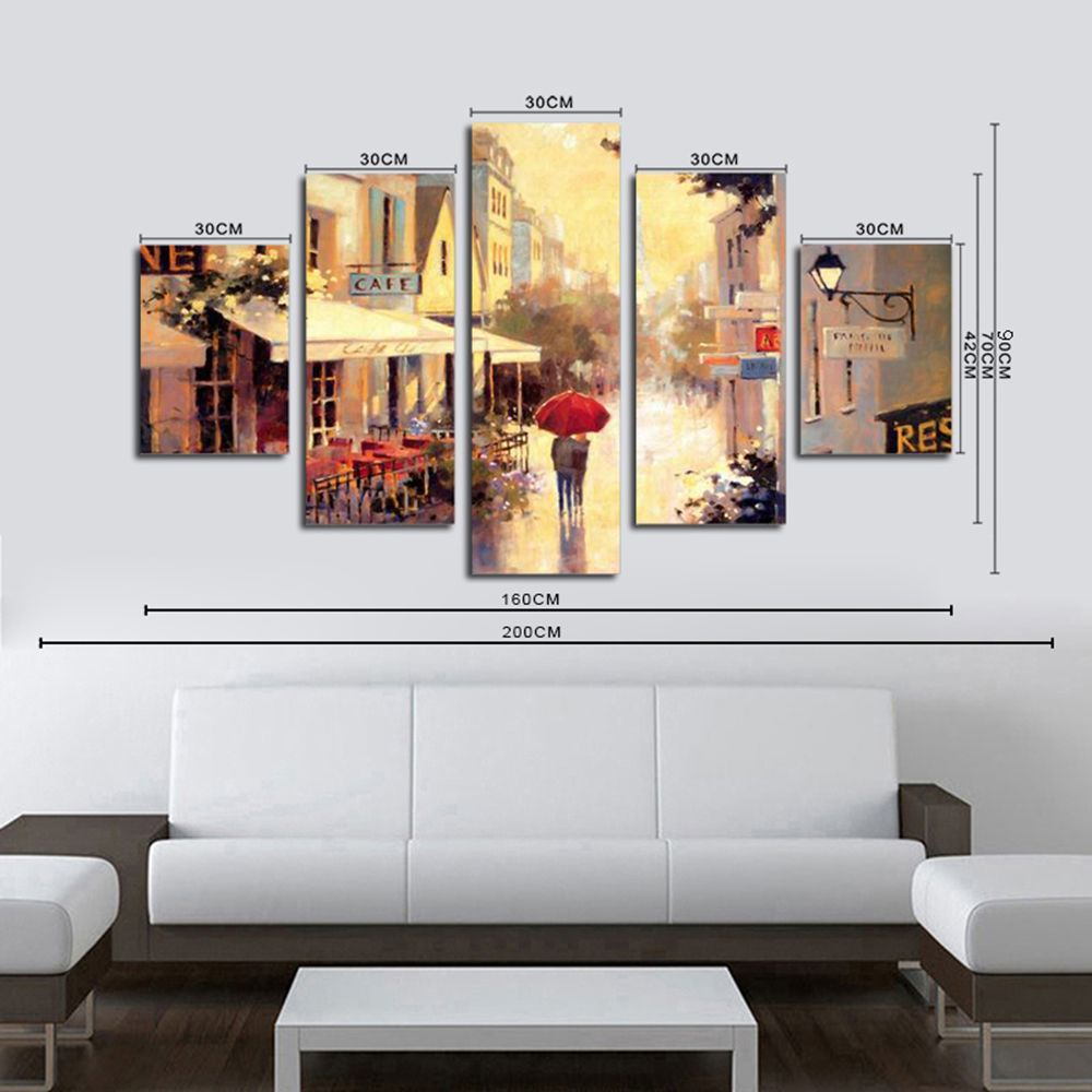 Colormix Qiaojiahuayuan No Frame Canvas Five Connect Painting Urban ...