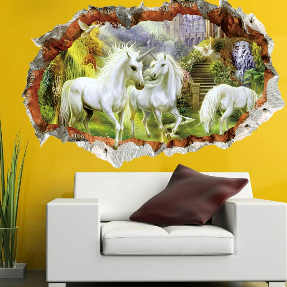 White Unicorn Wall Sticker 3d Broken Windoe Mural Home Decor ...